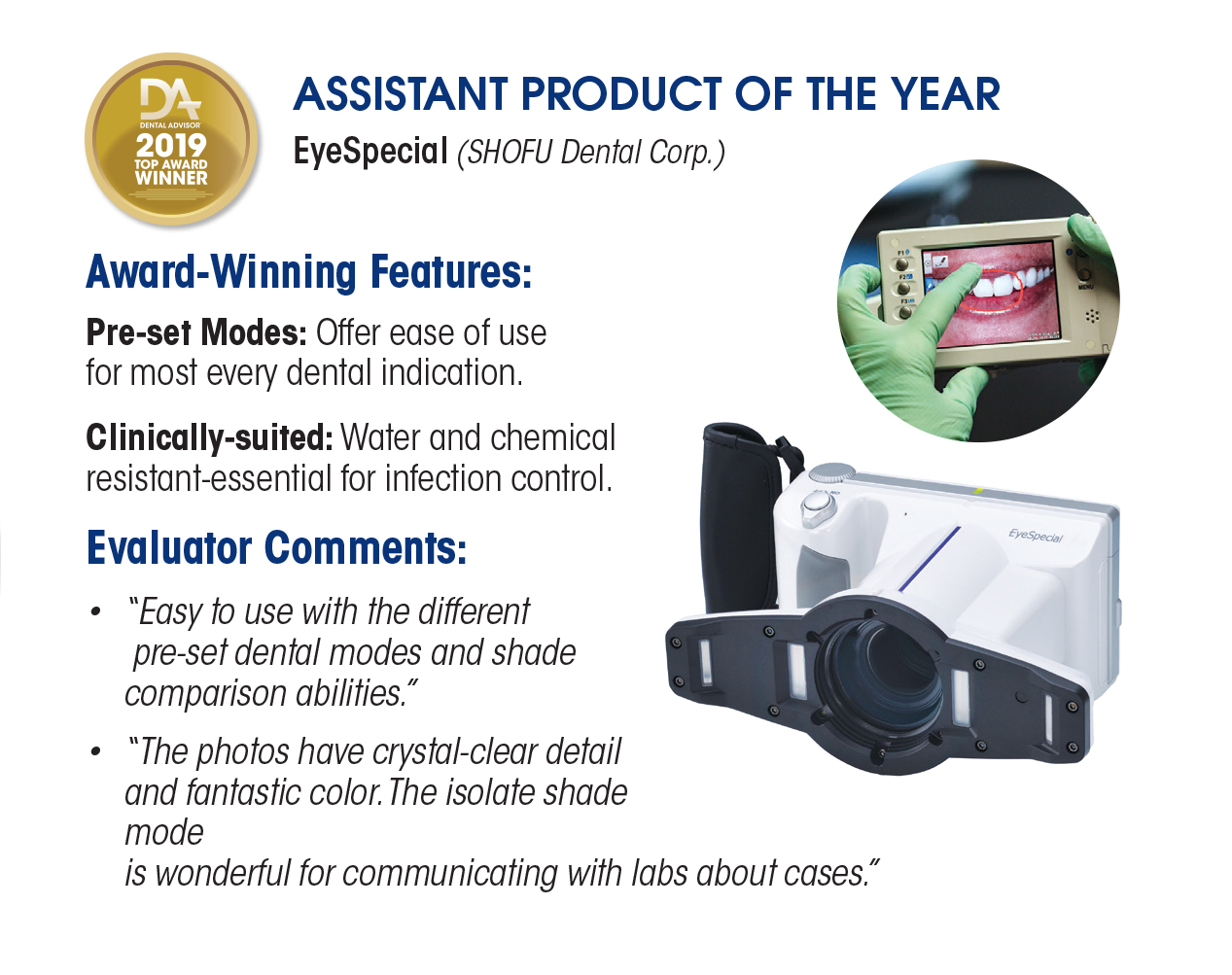 2019 Top Award Winner Dental Advisor EyeSpecial